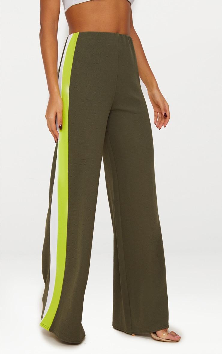 Khaki Contrast Stripe Wide Leg Trousers 2