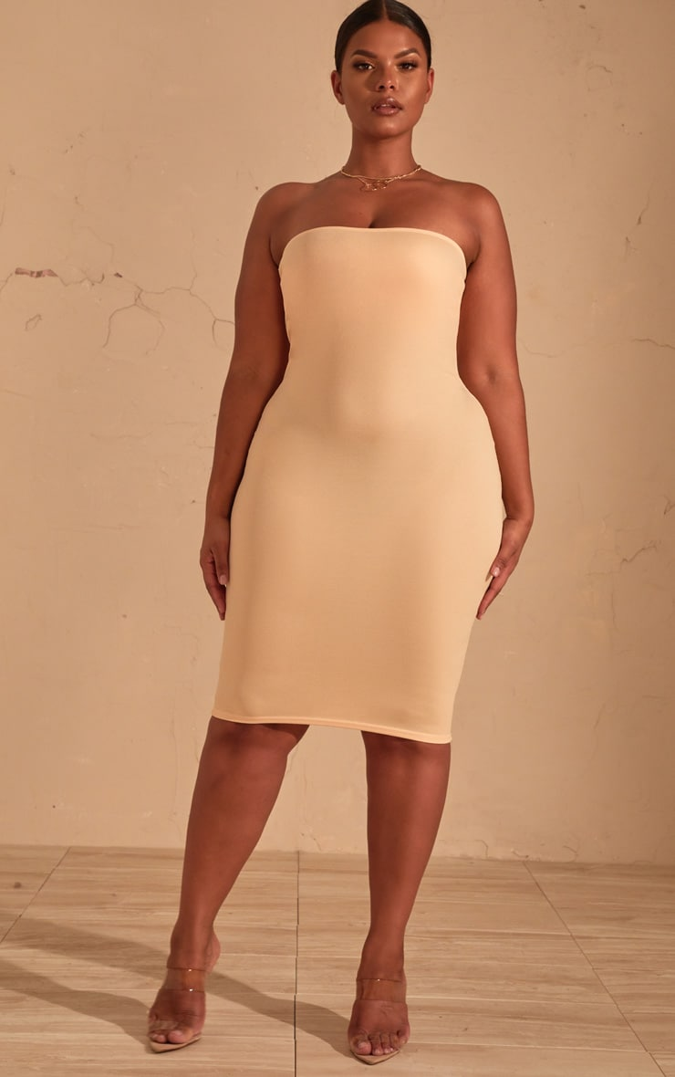 Plus Cream Bandeau Midi Dress 4