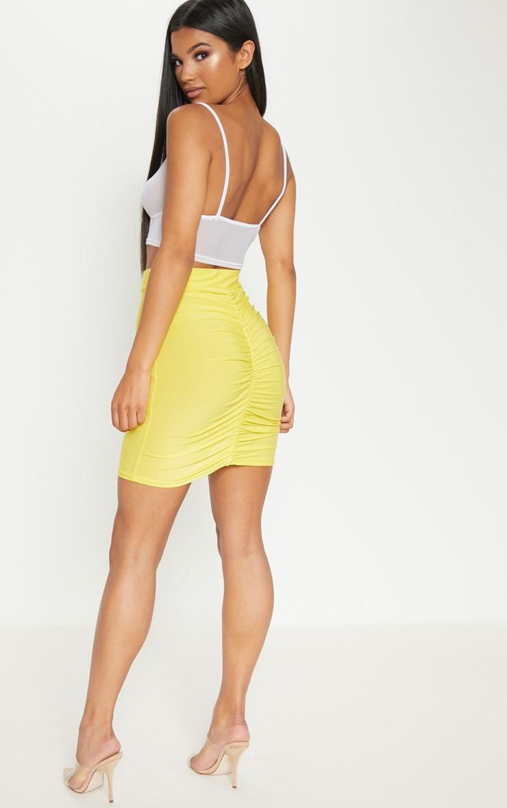 Yellow Slinky Ruched Seam Detail Mini Skirt