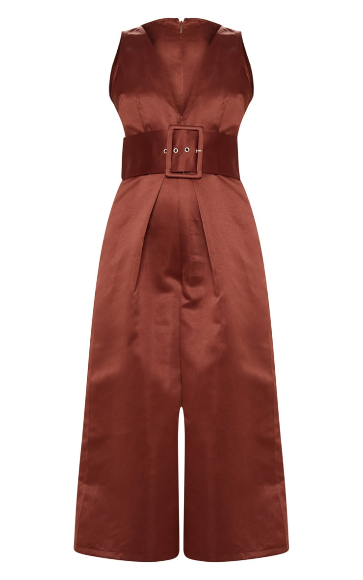 Chocolate Satin Belt Culotte Jumpsuit 3