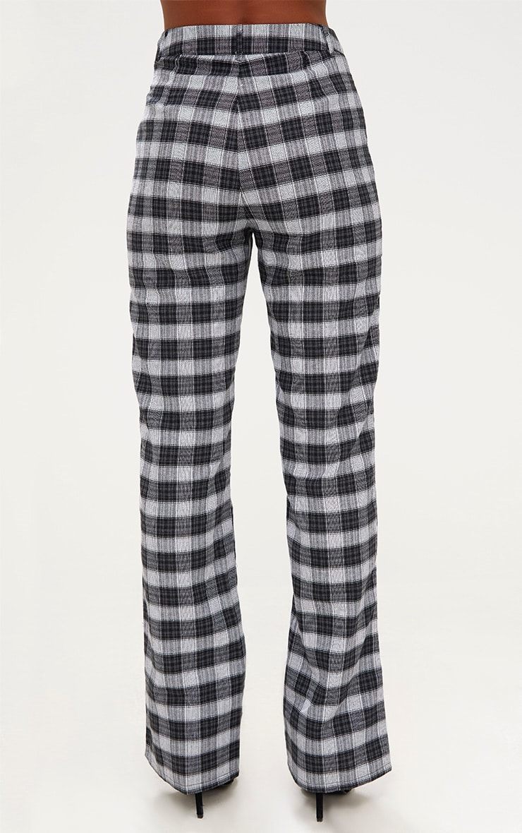 Black Check High Waisted Trousers 4