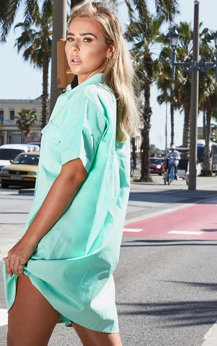 Petite Mint Oversized Utility Shirt Dress 2