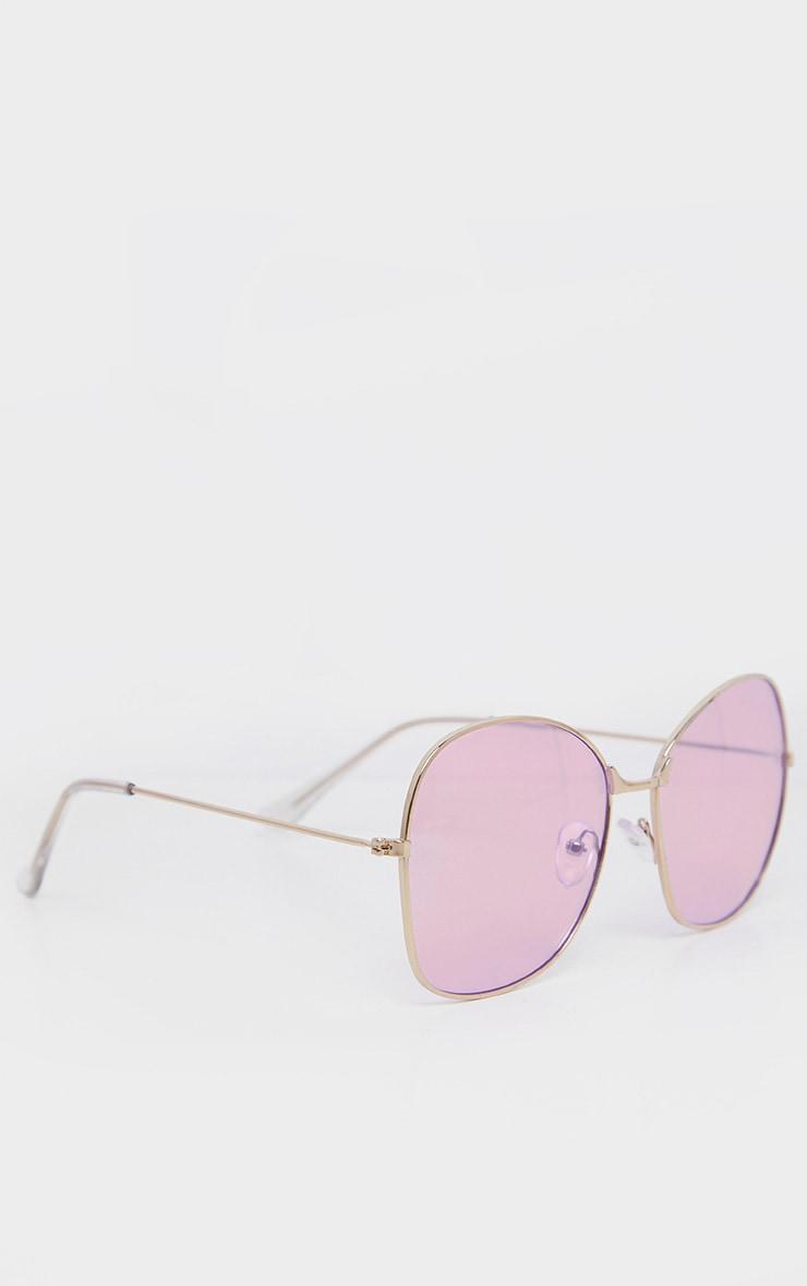 Lilac Oversized Square Lens Gold Metal Frame Sunglasses 3