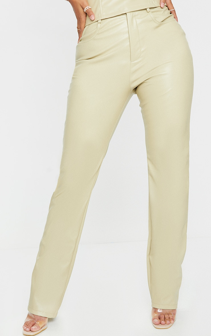 Shape Sage Khaki PU Straight Leg Trousers 2