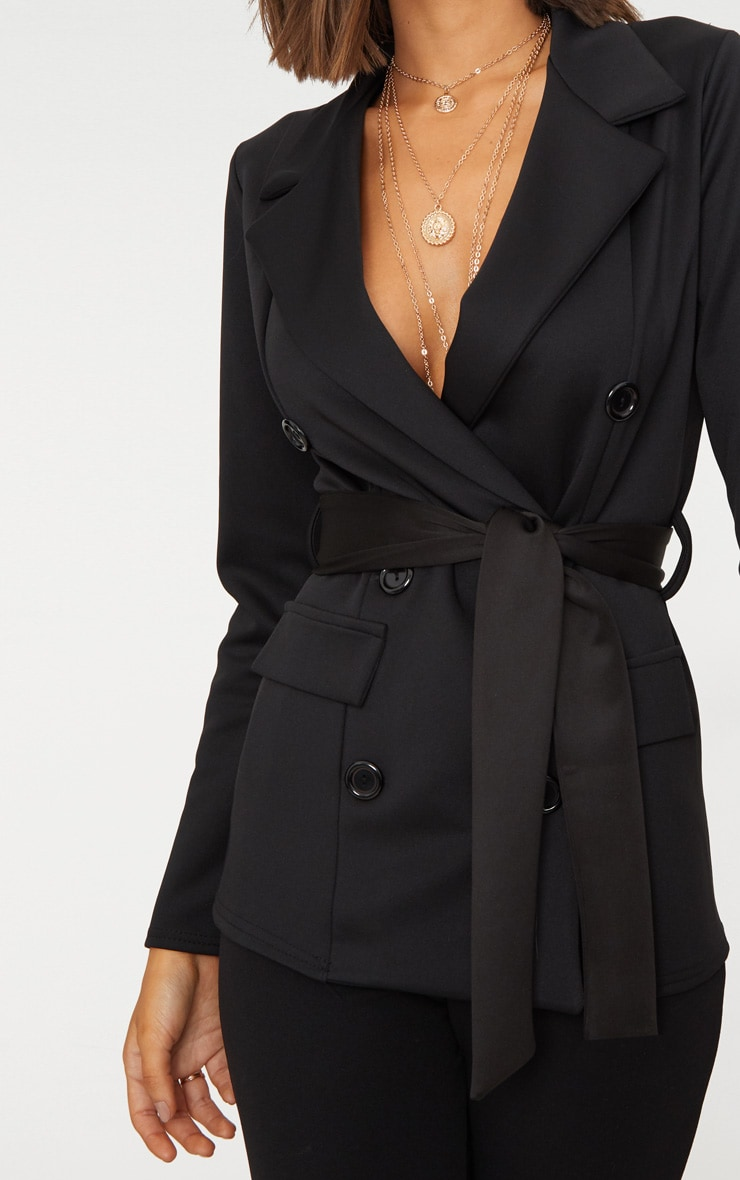 Black Double Breasted Belted Blazer 5