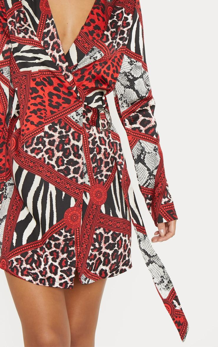 Red Satin Leopard Chain Print D Ring Blazer Dress 5