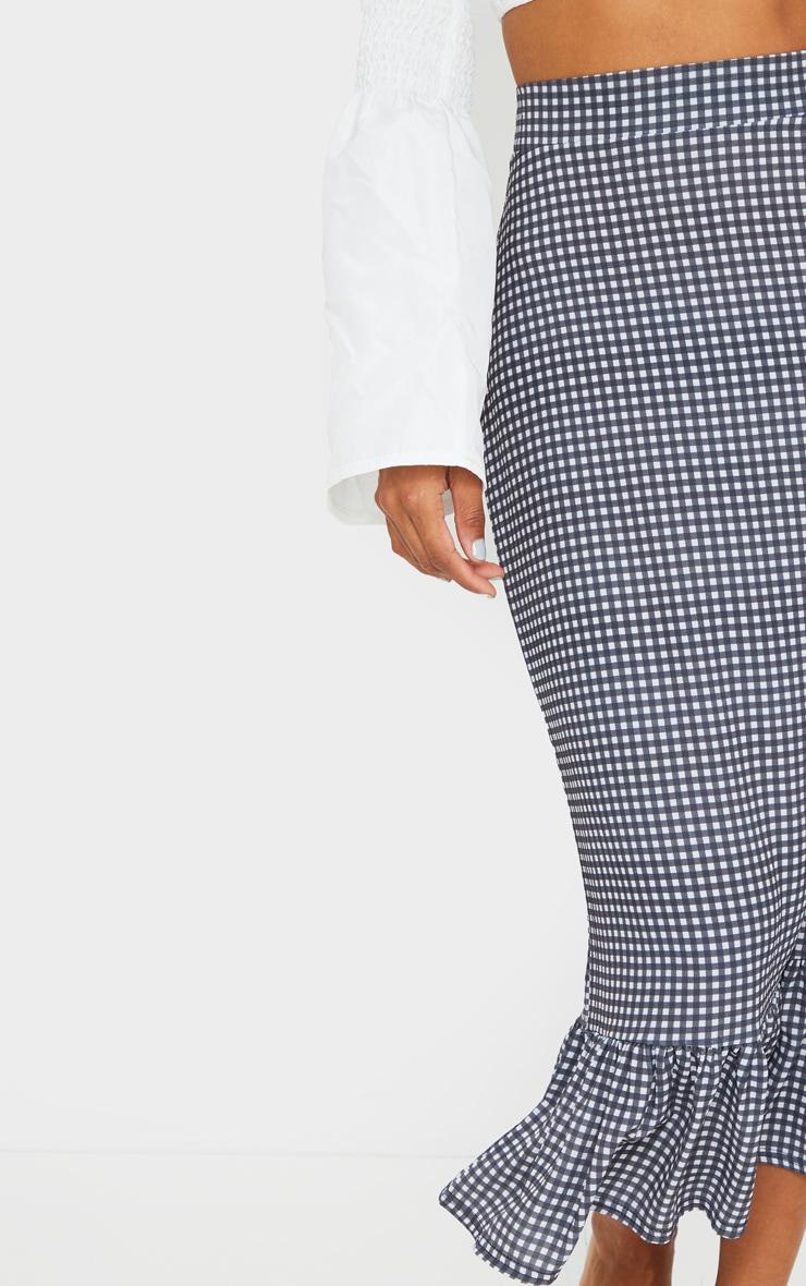 Black Gingham Frill Hem Midaxi Skirt 4