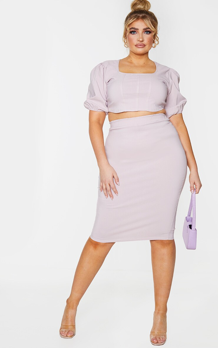 Plus Dusty Pink Stretch Seam Detail Puff Sleeve Crop Top 3