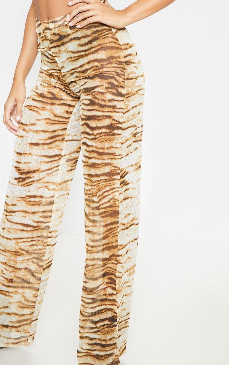 Tan Chiffon Tiger Print High Waisted Wide Leg Trouser 5