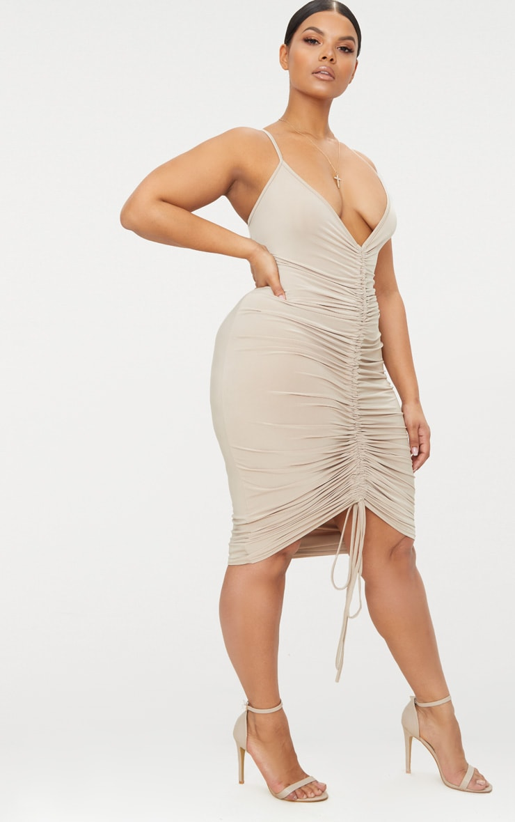 Plus Stone Slinky Strappy Ruched Midi Dress 3