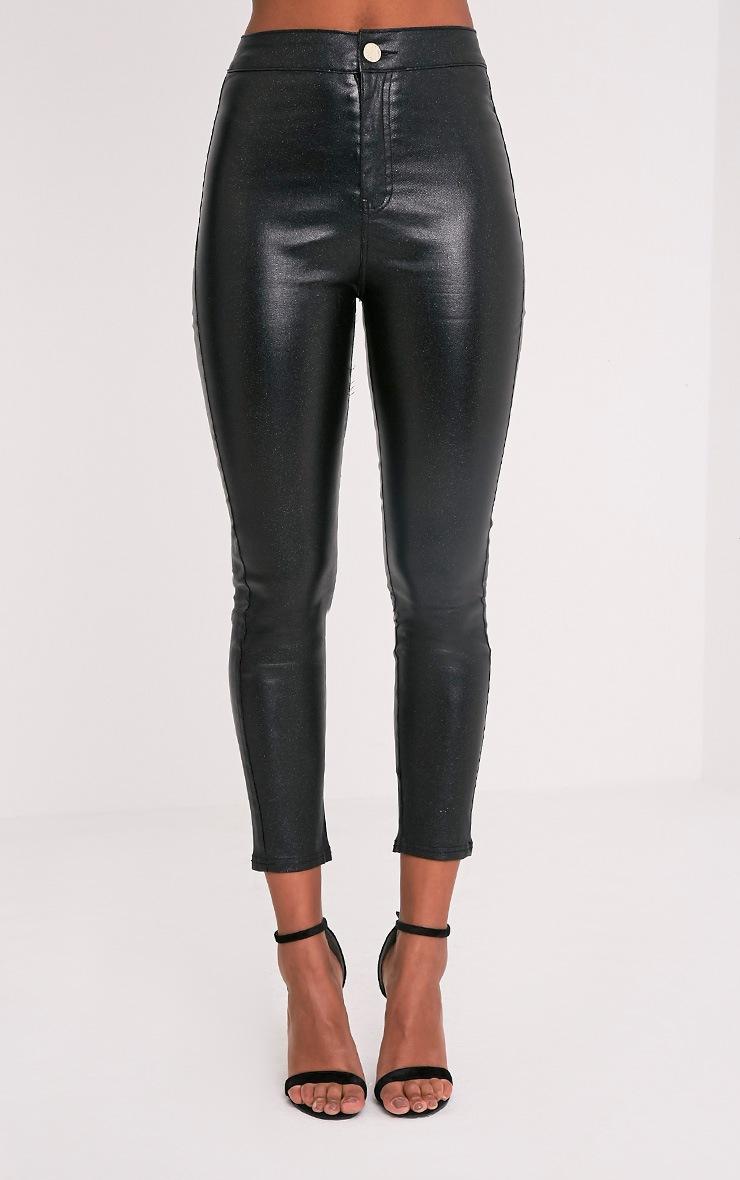 Georgea Black Glitter Skinny Trousers  2