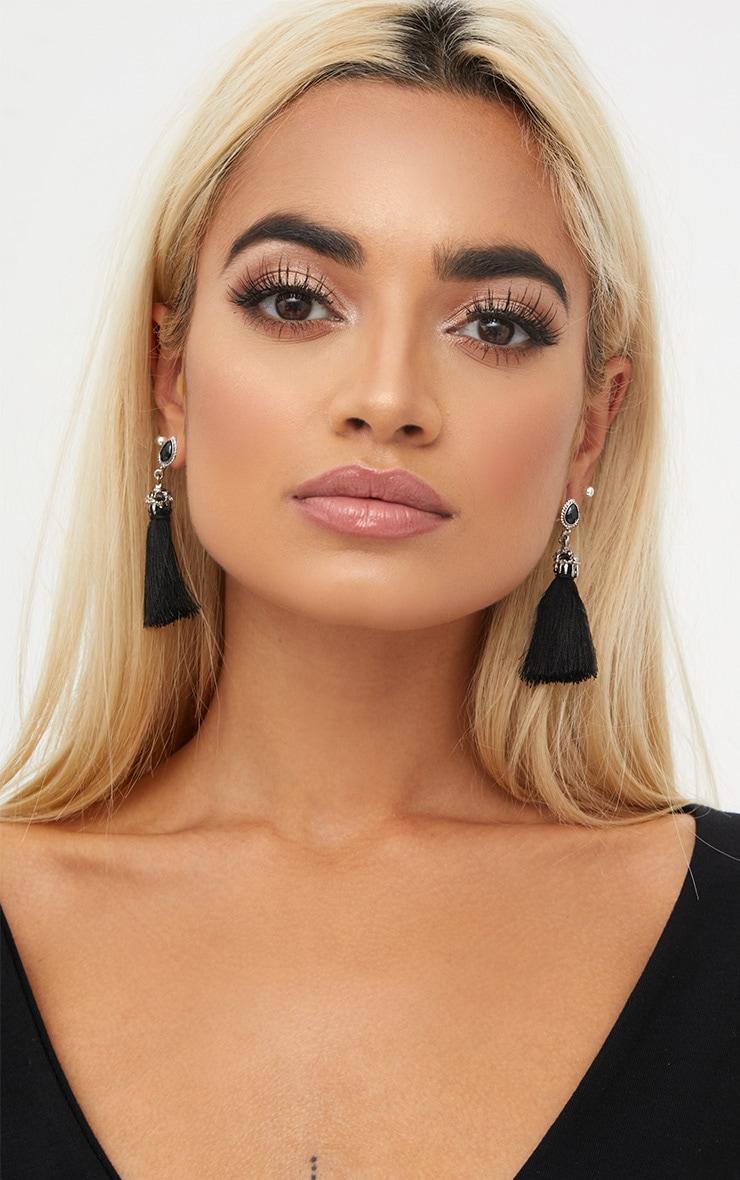 Black Jewel Stud Tassel Earrings 2