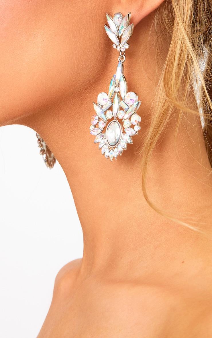 Silver Iridescent Diamante Drop Earrings 2