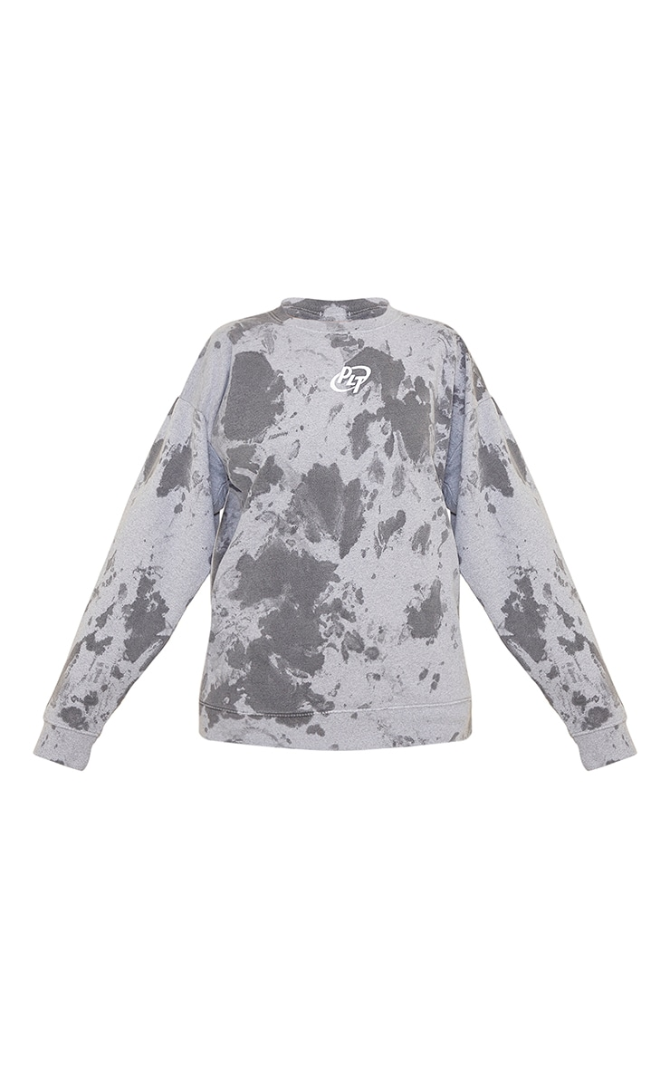 PRETTYLITTLETHING Grey Circle Logo Acid Wash Sweatshirt 5