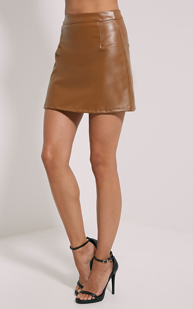 Rose Camel Faux Leather A-Line Mini Skirt 3