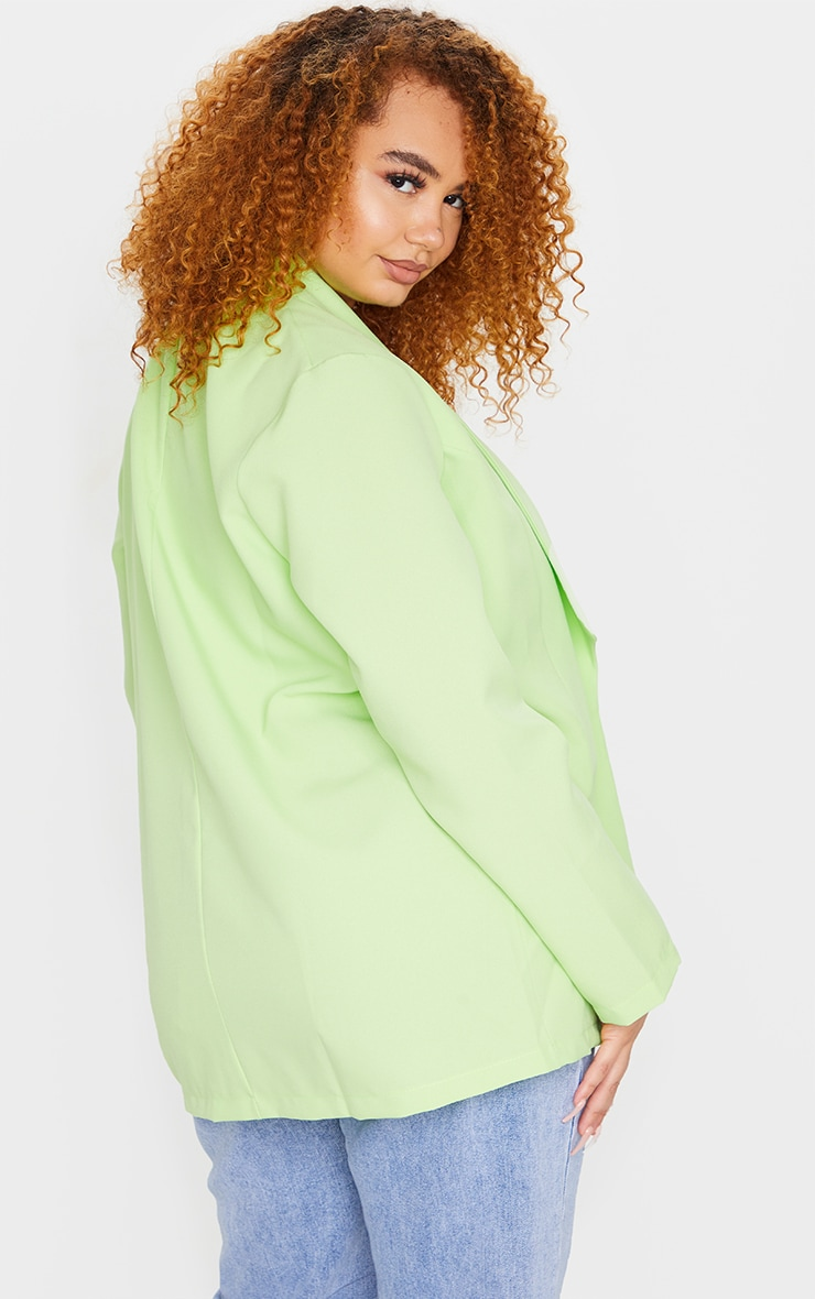 Plus Lime Curved Lapel Woven Longline Blazer 2