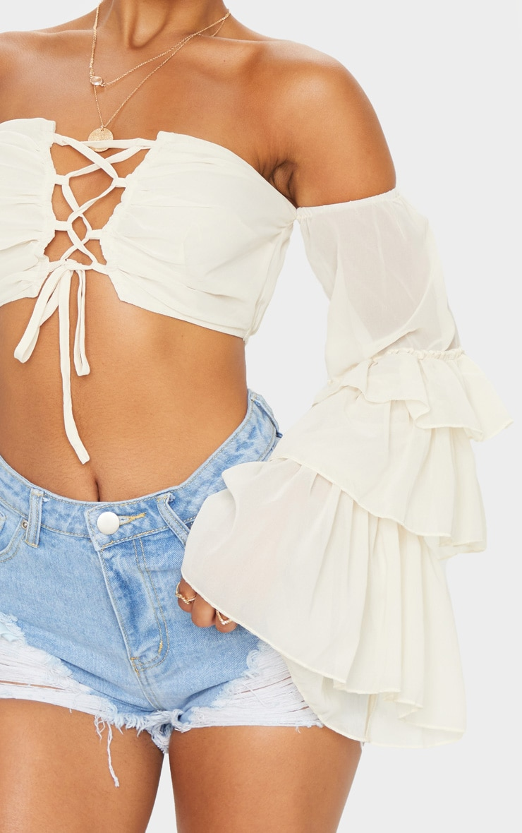 Cream Woven Ruffle Sleeve Lace Up Crop Top 4