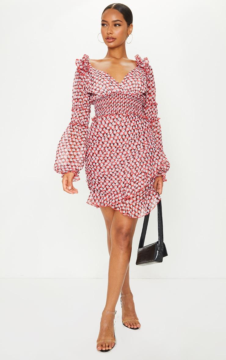 Red Floral Print Frill Detail Shirred Waist Tea Dress 3