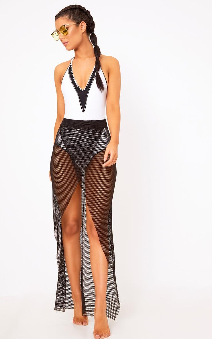 Black Fishnet Wrap Over Maxi Skirt  1