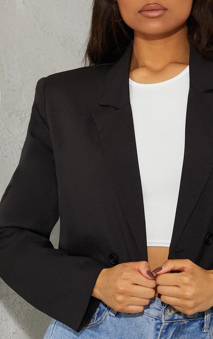 Black Woven Cropped Shoulder Padded Blazer 4