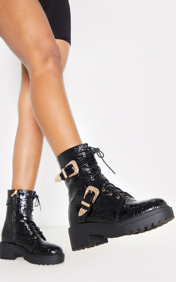 Black Patent Croc Western Buckle Cleated Boot 2