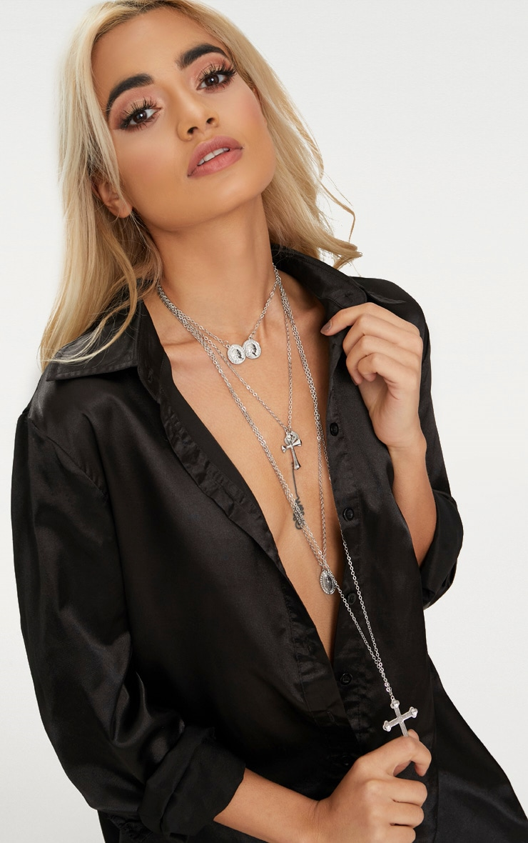 Silver Assorted Cross Tiered Necklace 2