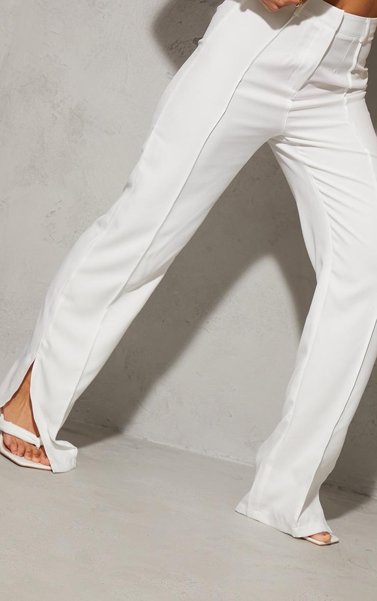 White Pintuck Detail Split Hem Woven Trousers 4