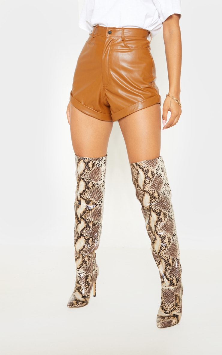 Chestnut Faux Leather Turn Up Hem Short 2
