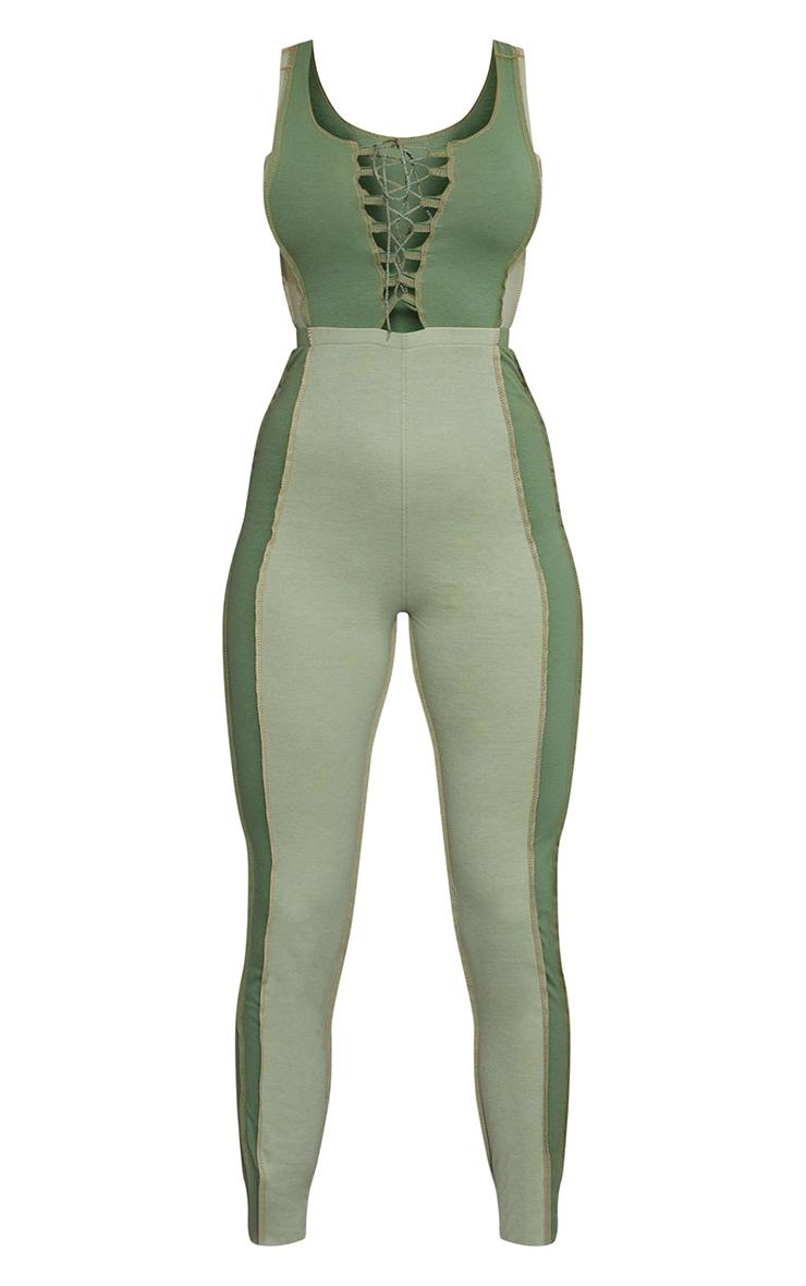 Khaki Contrast Panel Seam Detail Lace Up Jumpsuit 5