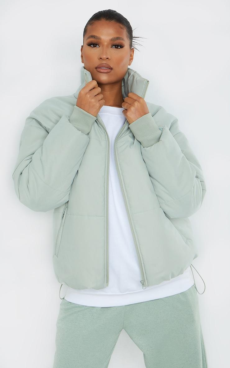 Sage Green Oversized Peach Skin Cuff Puffer Jacket 1