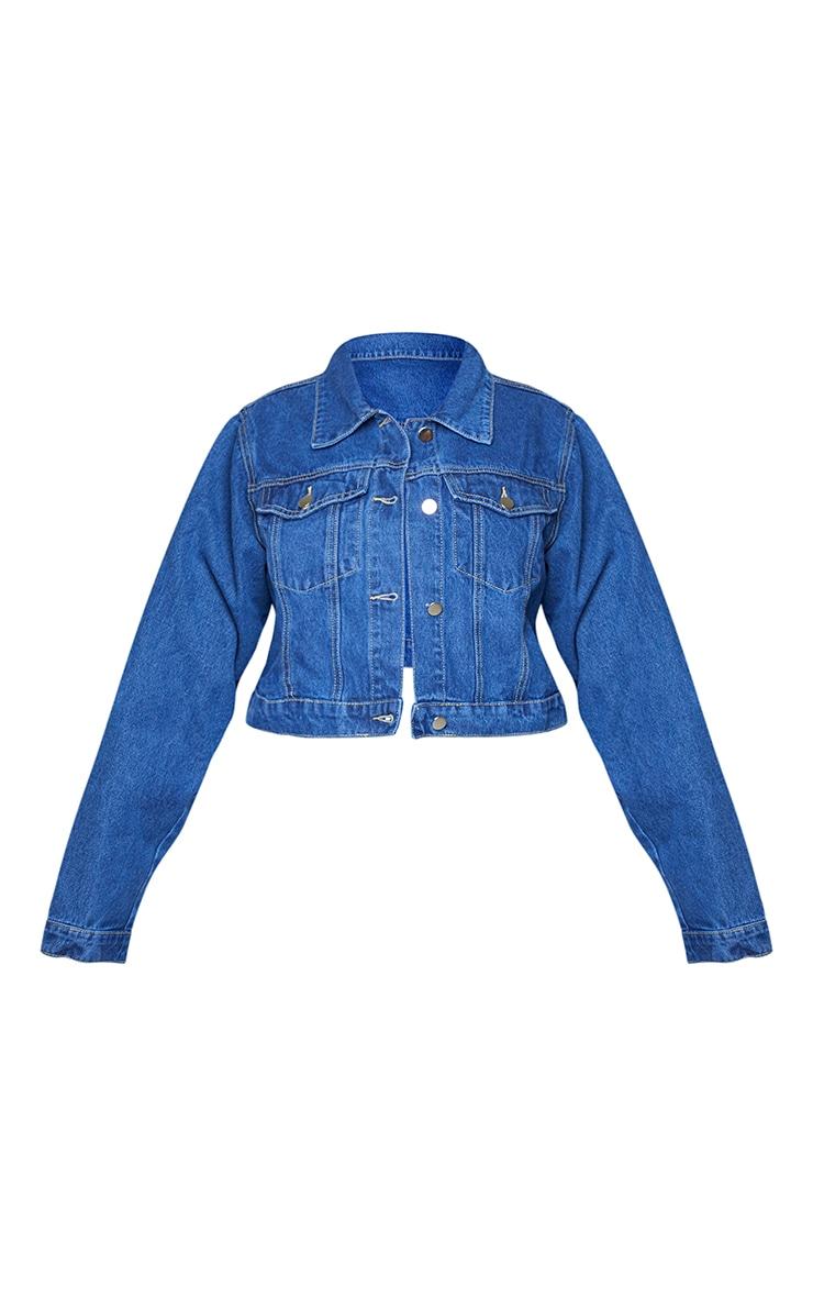PRETTYLITTLETHING Plus Indigo Cropped Denim Jacket 5