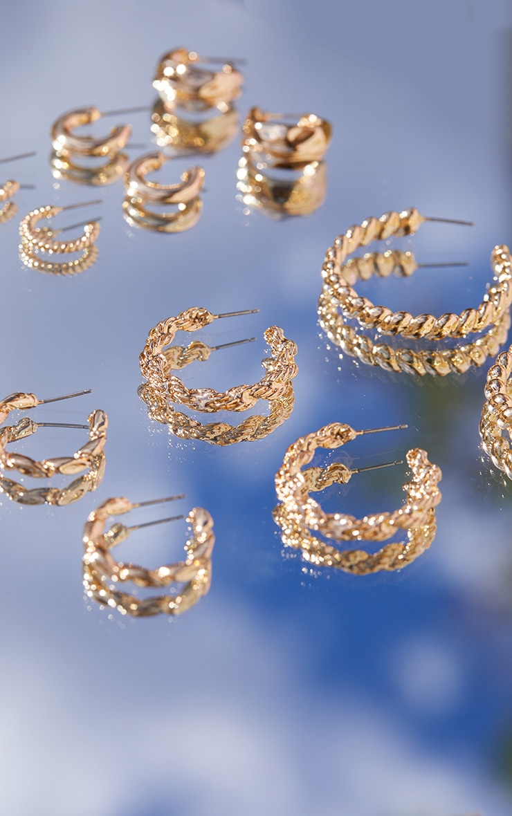 Gold Textured Assorted 6 Pack Hoop Earrings 3
