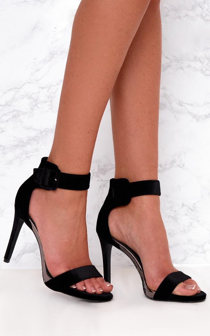 Black Velvet Buckle Strap Heels 1