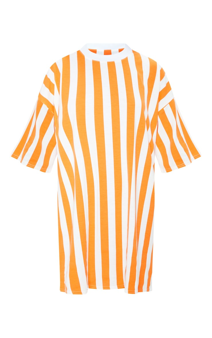 Orange Vertical Stripe Oversized Boyfriend T Shirt Dress 3