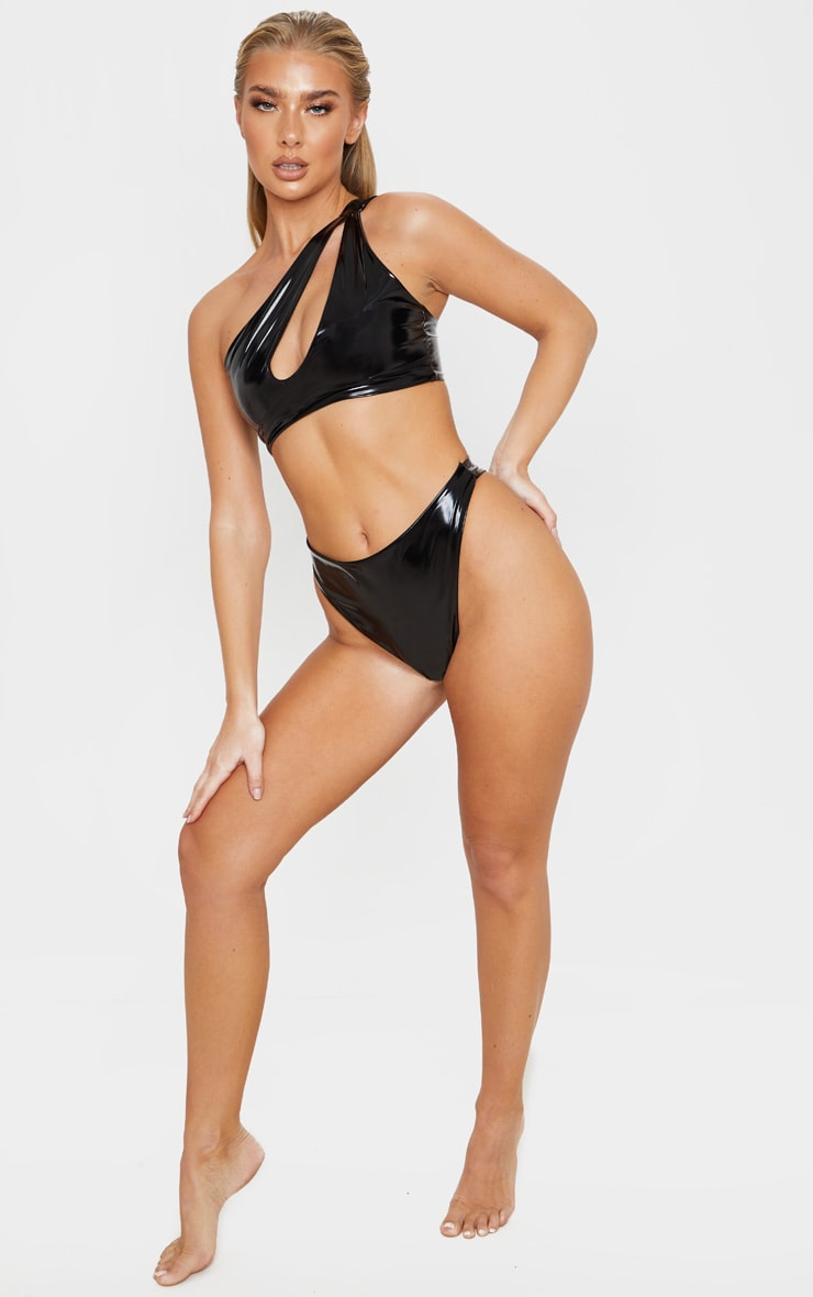 Black Vinyl Super High Leg Bikini Bottom 5