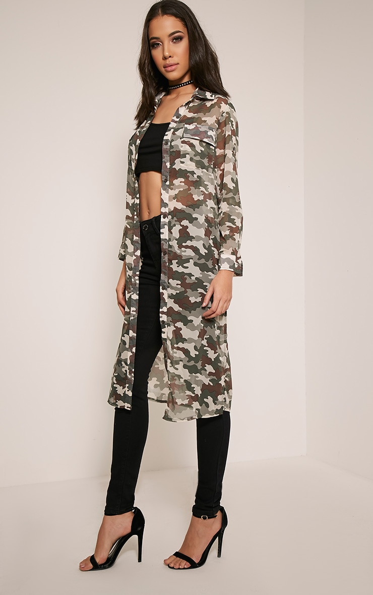 Tabia Khaki Camouflage Print Chiffon Longline Shirt 4