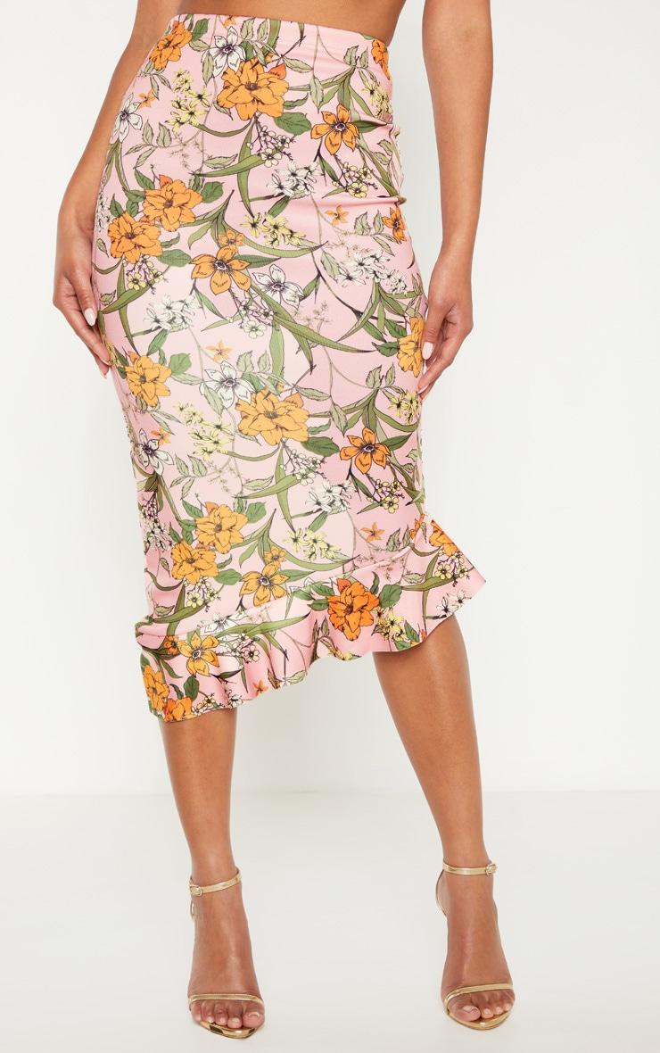 Pink Scuba Frill Hem Midi Skirt 2