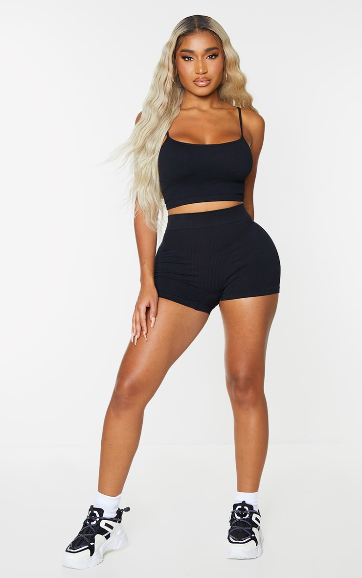 Shape Black Contour Ribbed Strappy Crop Top 3