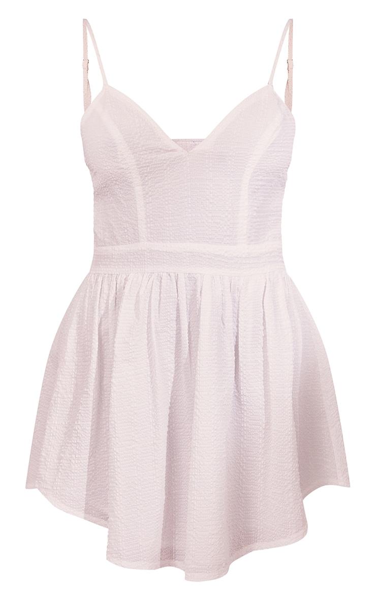 White Textured Strappy V Neck Skater Dress 5