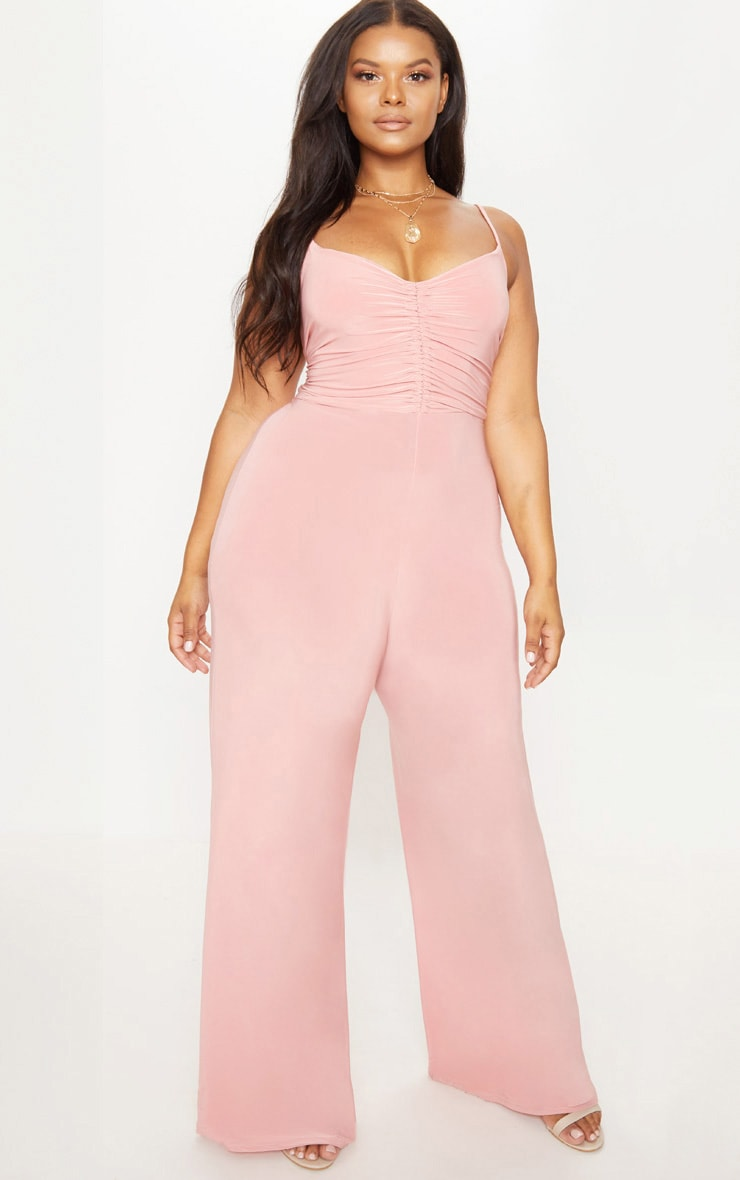 Plus Blush Slinky Ruched Top Jumpsuit 1