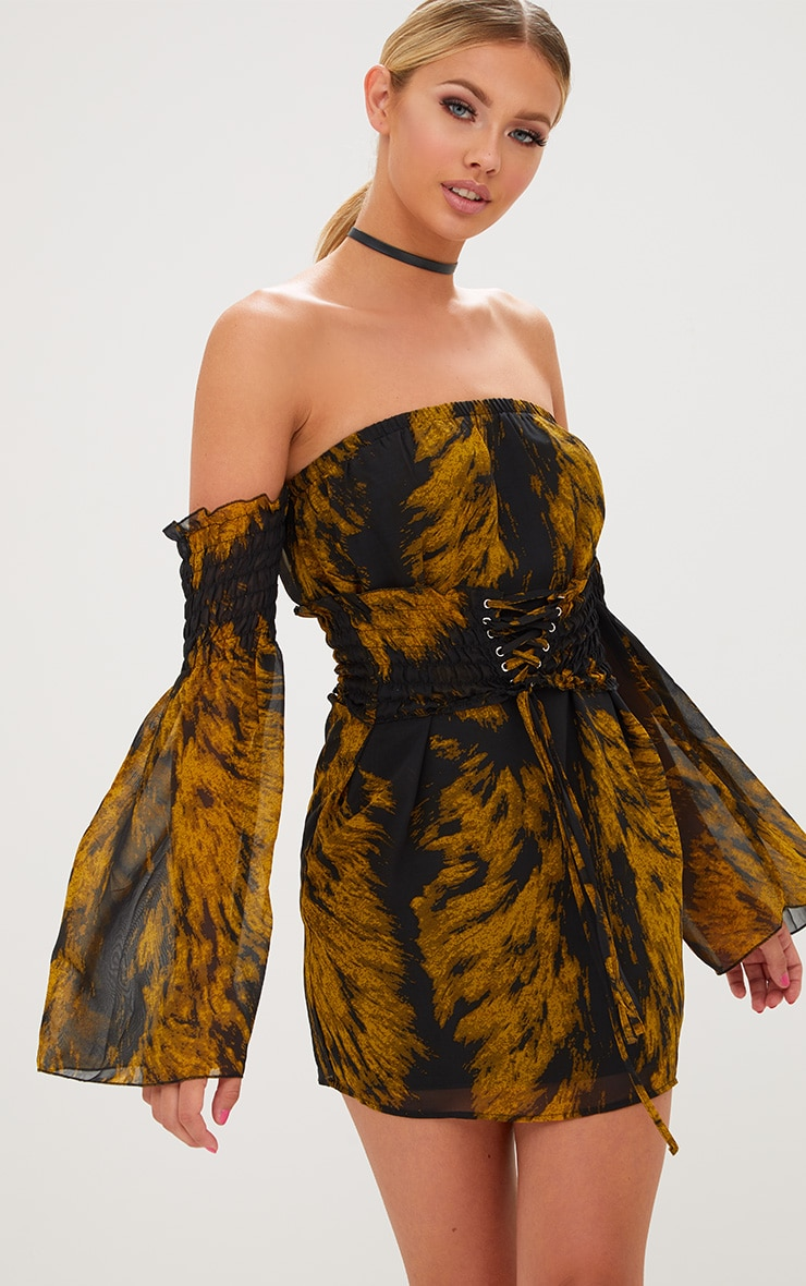 Black Ruched Bardot Corset Detail Bodycon Dress Dresses