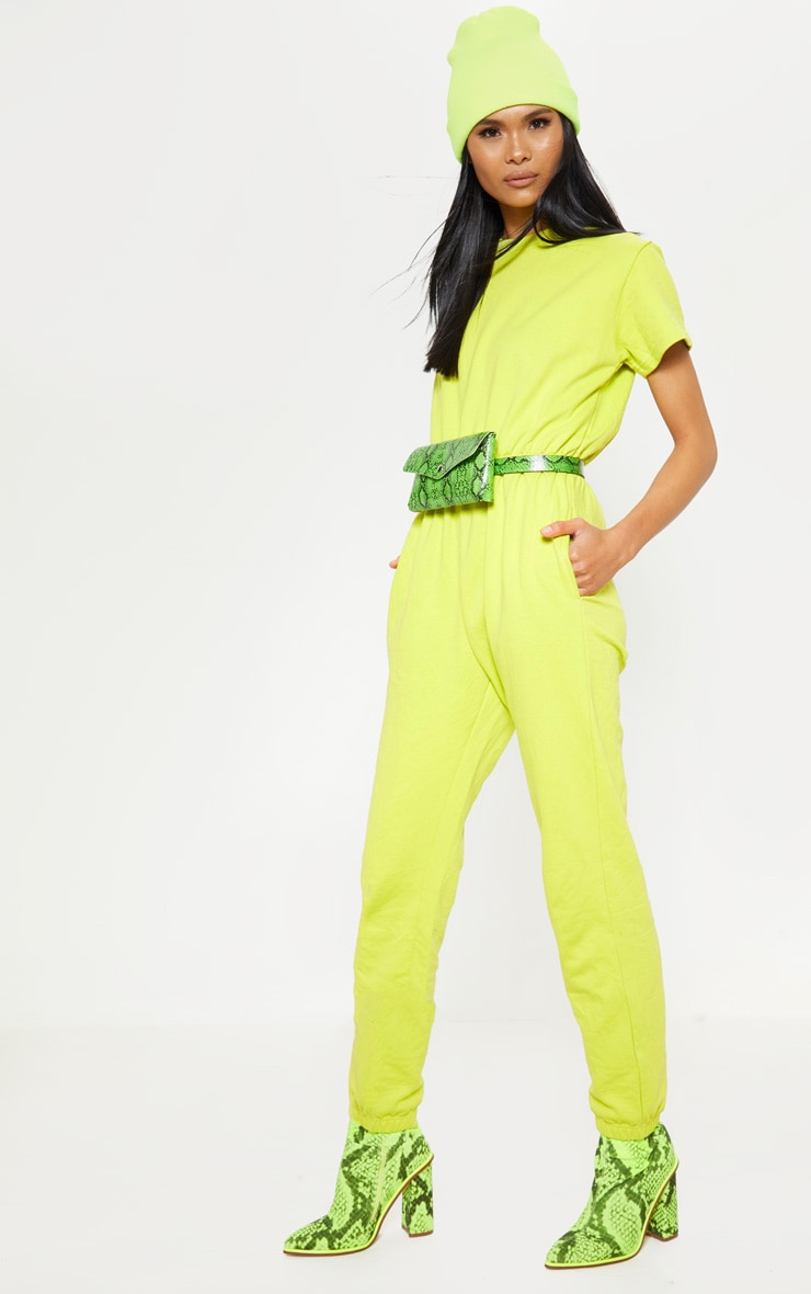 Lime Short Sleeve Crew Neck Sweat Jumpsuit 1