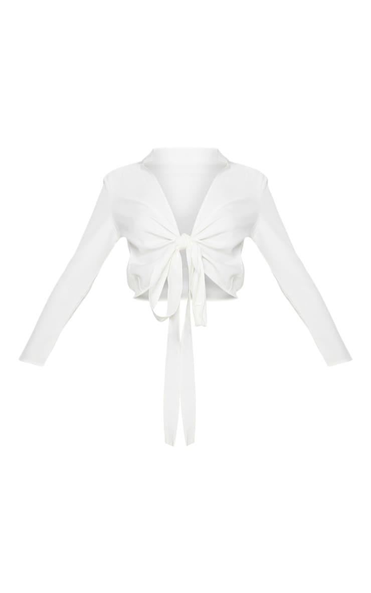 Blanche White Tie Front Long Sleeve Crop Blouse 3