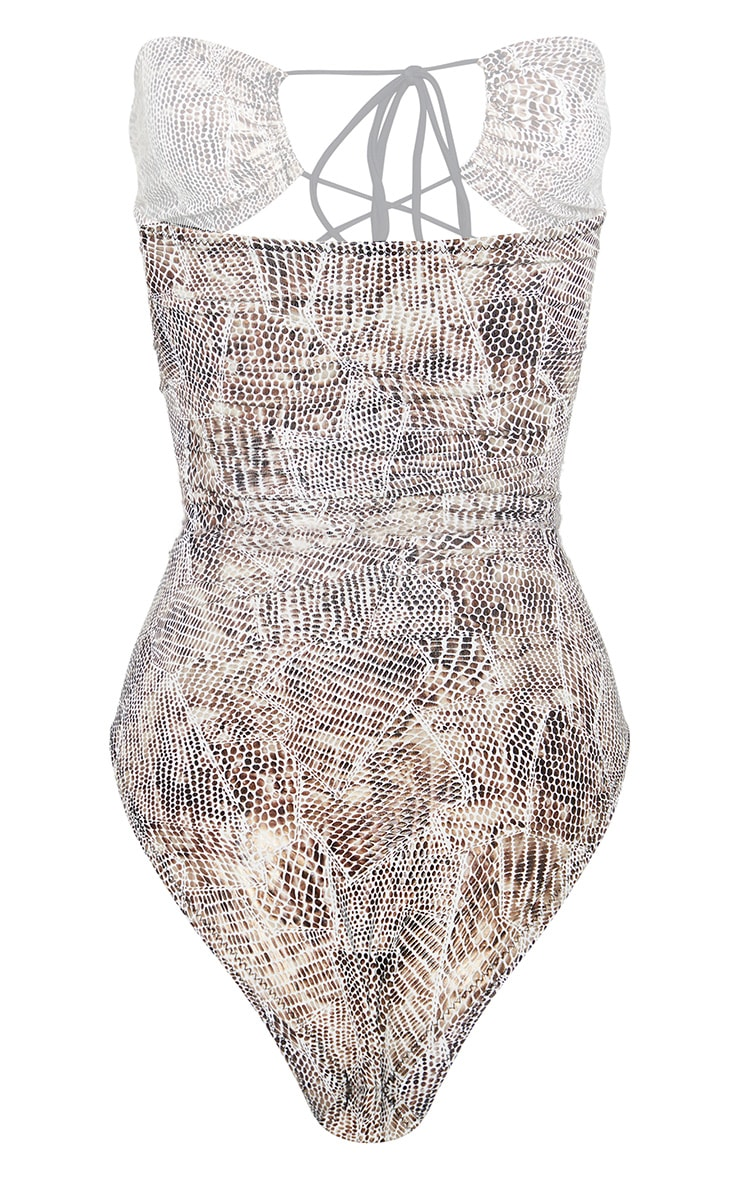 White Lace Up Textured Snake Swimsuit 4