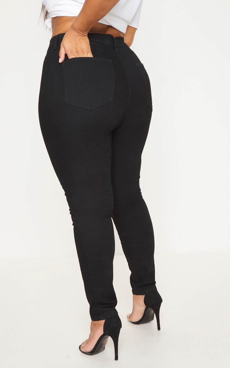 Plus Black High Waist Skinny Jeans 4