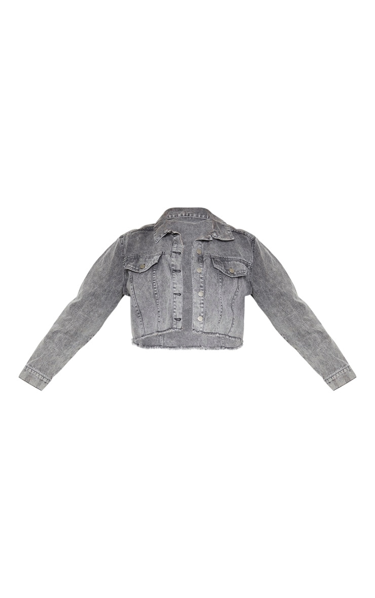 Plus Charcoal Washed Denim Crop Jacket 3