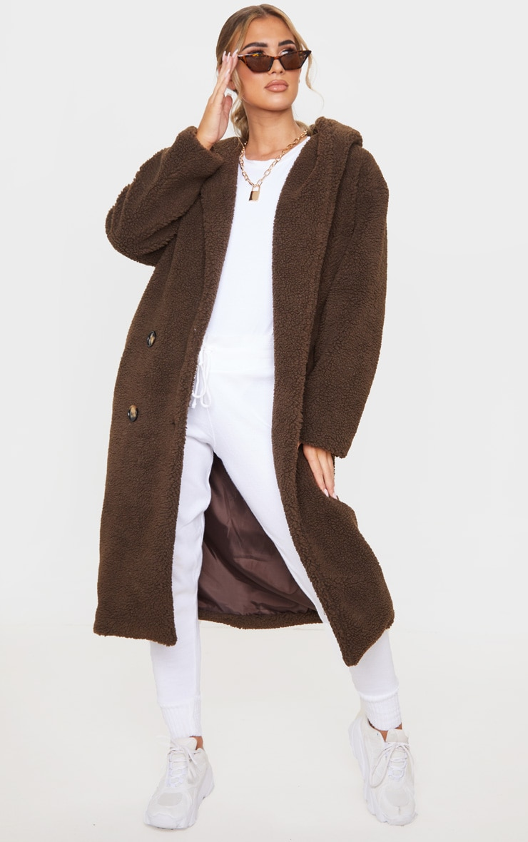 Chocolate Brown Borg Hooded Midi Coat 1