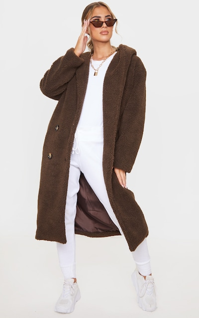 Chocolate Brown Borg Hooded Midi Coat