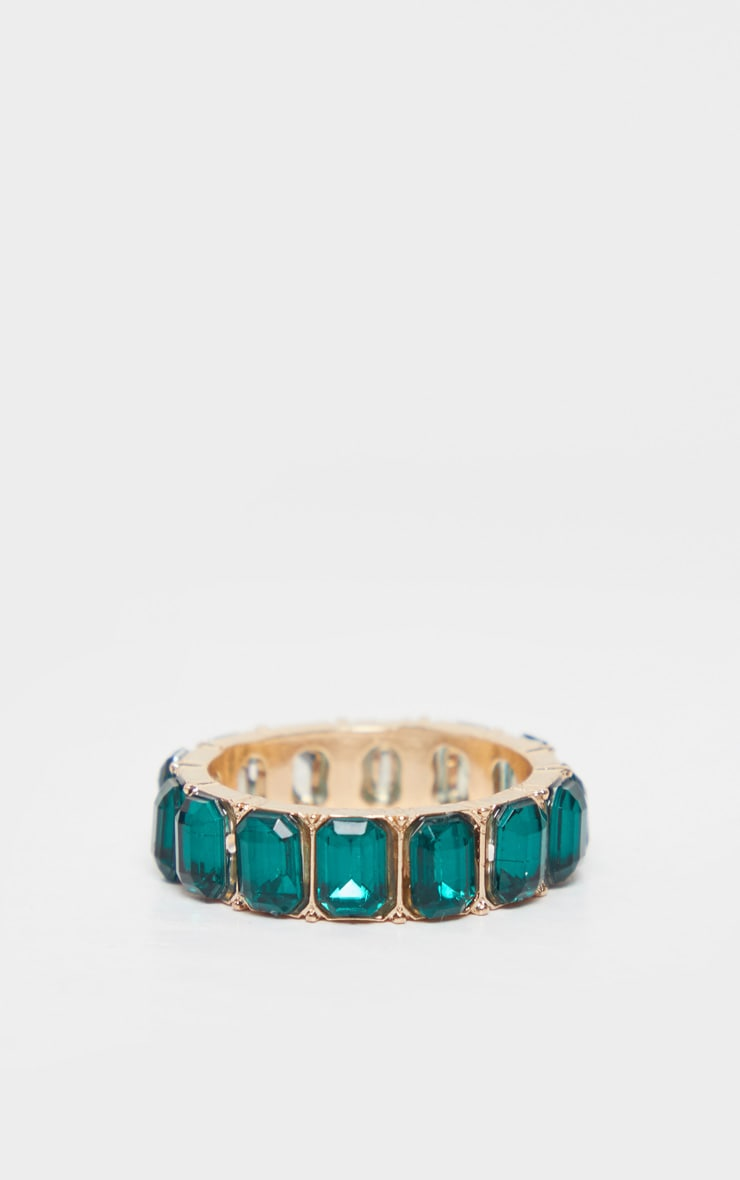 Emerald Green All Round Diamante Band Ring 2