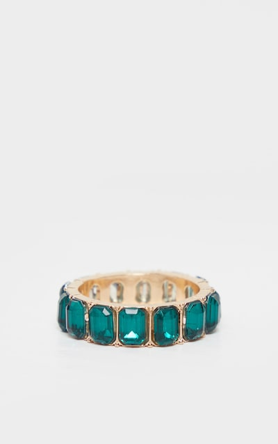 Emerald Green All Round Diamante Band Ring